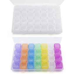 28 Slots Plastic Adjustable Jewelry Nail Art Storage Box Cra