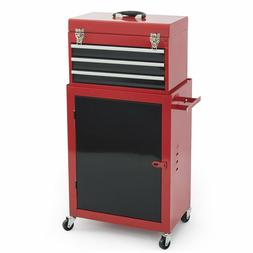 2pc Mini Tool Chest & Cabinet Storage Box Red Rolling Garage