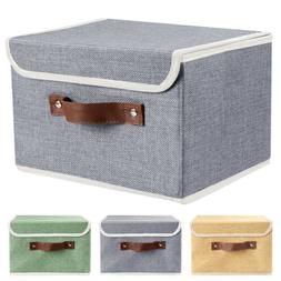 2Pcs Collapsible Storage Bins Box Cube w/ Lid+Handle Organiz