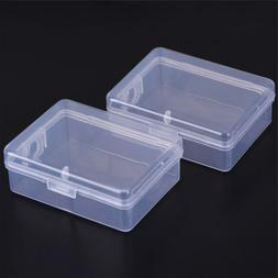 2X Small Transparent Plastic Storage Box Clear Square Multip