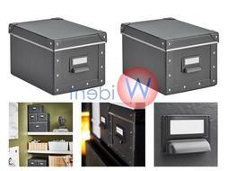 2Pk IKEA FJALLA Storage Box With Lid Dark Gray 7 x 10 ¼ x 6