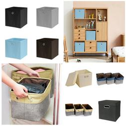 2X Collapsible Storage Bin Linen Fabric Cube Organizer Box B