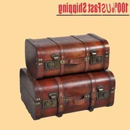 2x Storage Trunk Wood Trunk treasure box trunk Storage Box w