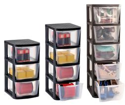3 4 or 5 Clear Drawers Plastic Storage Tower Unit Chest Cabi