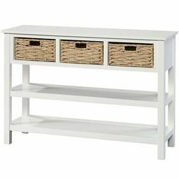 3-Basket Console in White Finish