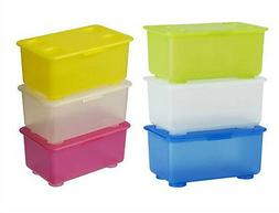 IKEA 3 box W/ lid pen pencil holder stackable storage jar ti