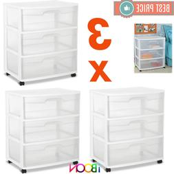3 DRAWER PLASTIC STORAGE Organizer Box Set Of 3 Rolling Box
