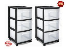 Sterilite 3 Drawer Storage Plastic Box Organizer Cabinet Hom