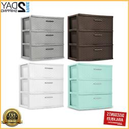 3 Drawer Storage Unit Organizer Wide Sterilite Weave Cabinet
