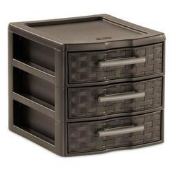 Sterilite 3 Drawer Storage Unit Small Weave Organizer 2273 P