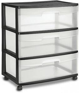 3 Drawer Wide Cart Storage Box Home Organizer Room Sterilite
