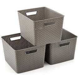 3 Large Gray Waterprof Plastic Shelf Storage Organizer Baske