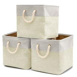 3 large storage bins basket fabric storage