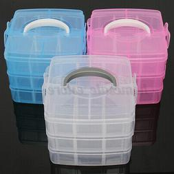 3 Layer Clear Plastic Jewelry Bead Storage Box Container Cra