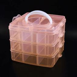 3-layers Clear Plastic Jewelry Bead Storage Box Container Or