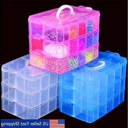 3 layers clear plastic jewelry bead storage
