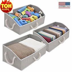 3-Pack Closet Storage Bins, Trapezoid Storage Box, Fabric Bi