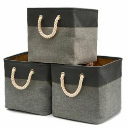 EZOWare 3-Pack Collapsible Storage Bins Basket Foldable Fabr
