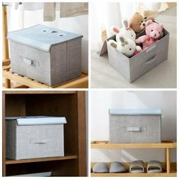 3 Pack Fabric Cube Storage Box Bin Organizer Container with