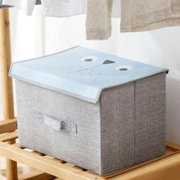 Fabric Cube Storage Box Bin Organizer Container with Lid Han