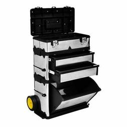 vidaXL 3-Part Rolling Tool Box with 2 Wheels Storage Cabinet