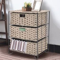 3 Rattan Home Wicker Baskets Tower Rack Storage Organizer Sh