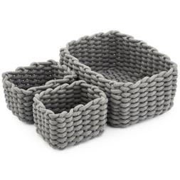 3 Set Decorative Woven Cotton Rope Baskets Organizer Storage