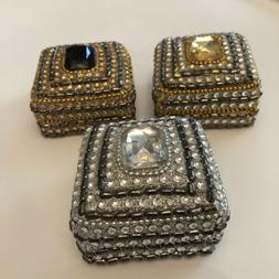 3 small decorative jeweled trinket ring jewelry