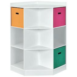 3-Tier Kids Storage Shelf Cubes w/3 Baskets Corner Cabinet O