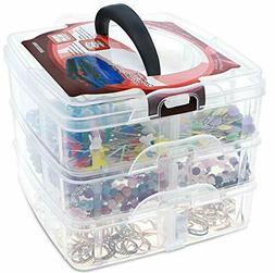 3 Tier Plastic Craft Storage Organizer Box Case with Adjusta