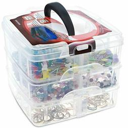 3 Tier Plastic Craft Storage Organizer Box Case with Adjusta