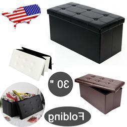 30 Inch Folding Storage Ottoman Leather Bench Box Lounge Sea