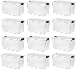 Sterilite 30 Quart/28 Liter Ultra Latch Box, Clear with a Wh