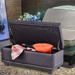 "Giantex 31"" Storage Ottoman Bench Ottoman Footstool PVC leat"