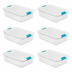 Sterilite 32 Quart Clear Plastic Stackable Storage Box Conta