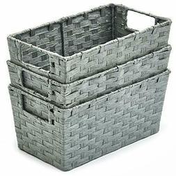 3pc Paper Rope Woven Storage Wicker Baskets bins Boxes Organ