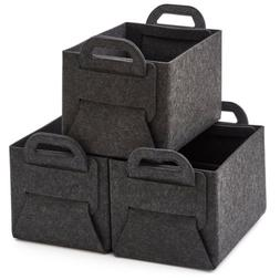 EZOWare 3pc Thick Felt Storage Folding Baskets Organizer Bin