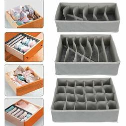 3PCS Foldable Closet Drawer Organizer Divider Storage Box Fo