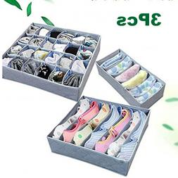 3pcs Foldable Underwear Drawer Bra Socks Charcoal Wardrobe O