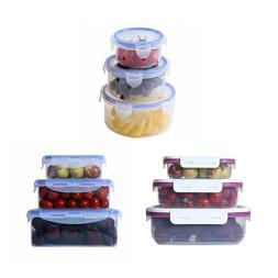 3pcs Kitchen Plastic Food Storage Containers Set Lunch Box C