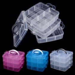 3Tray Plastic Clear Jewelry Bead Organizer Storage Box Conta