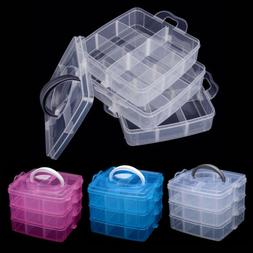 3Tray Plastic Clear Jewelry Bead Organizer Storage Box Conta