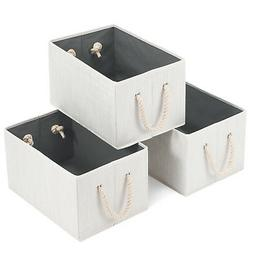 3x Foldable Storage Cube Basket Bin Box Storage with Cotton