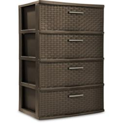4 DRAWER PLASTIC STORAGE Organizer Bedroom Clothes Dresser C