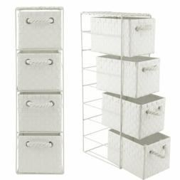 4 Drawer Storage Cabinet Weave Cart Plastic Home Office Orga