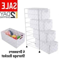 4 Drawer Tower Organizer Nylon Storage Cabinet Office Bin Wh