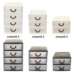 4 Drawer Tower Organizer Plastic Storage Cabinet Office Bin