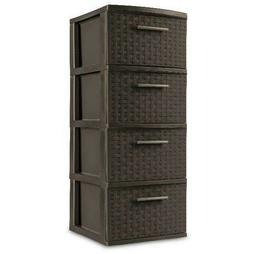 4 Drawer Weave Tower Storage Cabinet Box Organizer File Ches