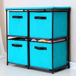 4 Drawers Storage Shelf Chest Unit Storage Cabinet Closet Or
