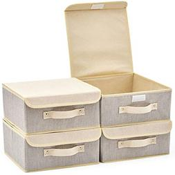EZOWare 4-Pack Small Fabric Storage Basket Bin with Lid, Col
